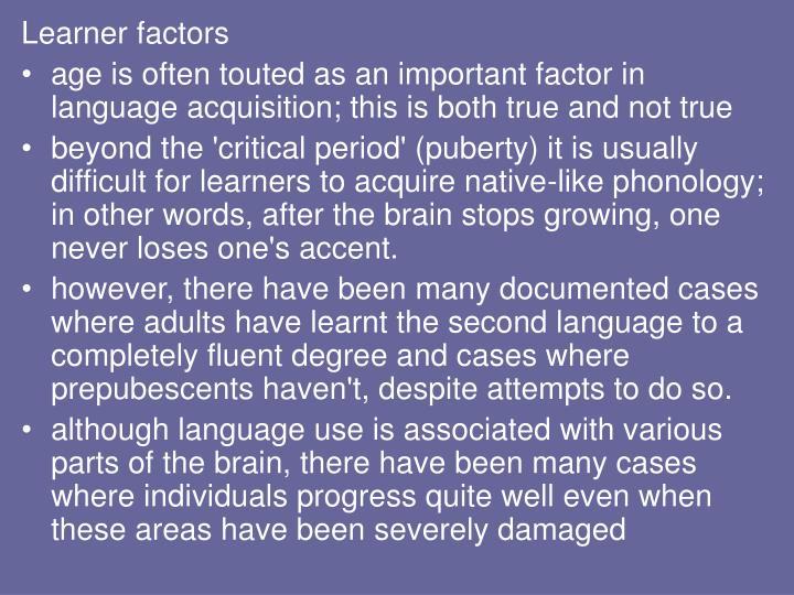 Learner factors