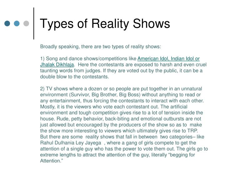 Types of reality shows