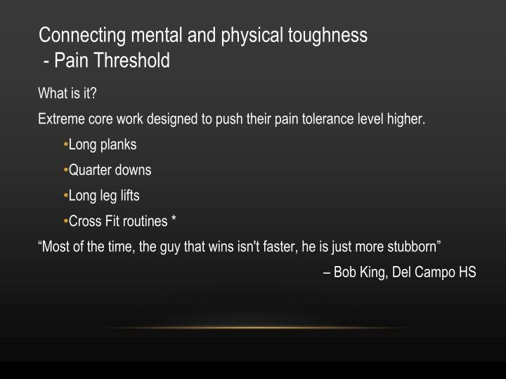 Connecting mental and physical toughness