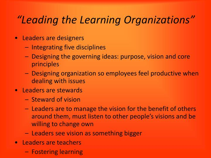an introduction to rethinking leadership in the learning organization Rethinking the edd in educational leadership   using technology to enhance learning introduction to  and student learning: current issues organization.