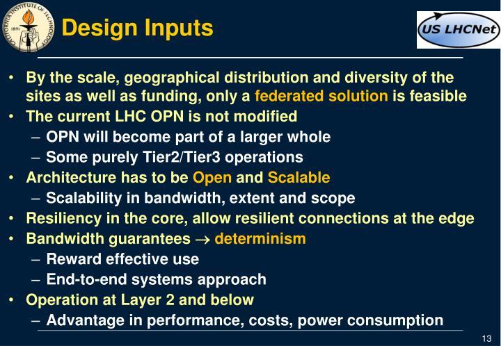 Design Inputs