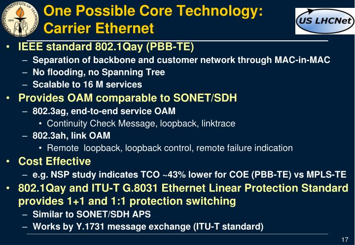 One Possible Core Technology:  Carrier Ethernet