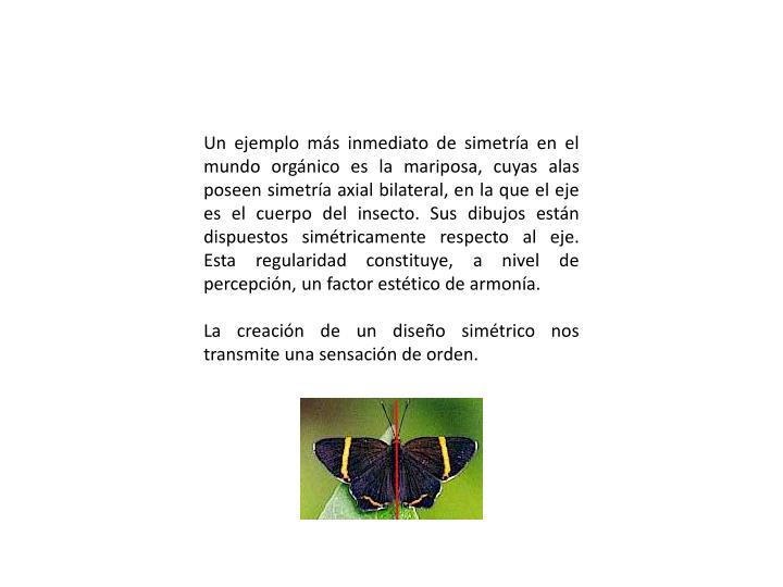 Un ejemplo más inmediato de simetría en el mundo orgánico es la mariposa, cuyas alas poseen simetría axial bilateral, en la que el eje es el cuerpo del insecto. Sus dibujos están dispuestos simétricamente respecto al eje. Esta regularidad constituye, a nivel de percepción, un factor estético de armonía.
