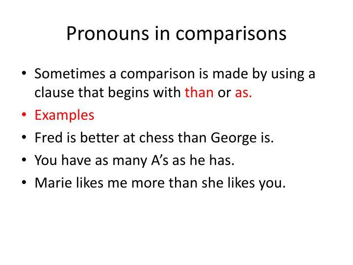 Pronouns in comparisons