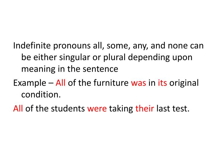 Indefinite pronouns all, some, any, and none can be either singular or plural depending upon meaning in the sentence
