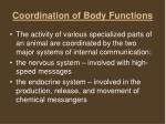 coordination of body functions