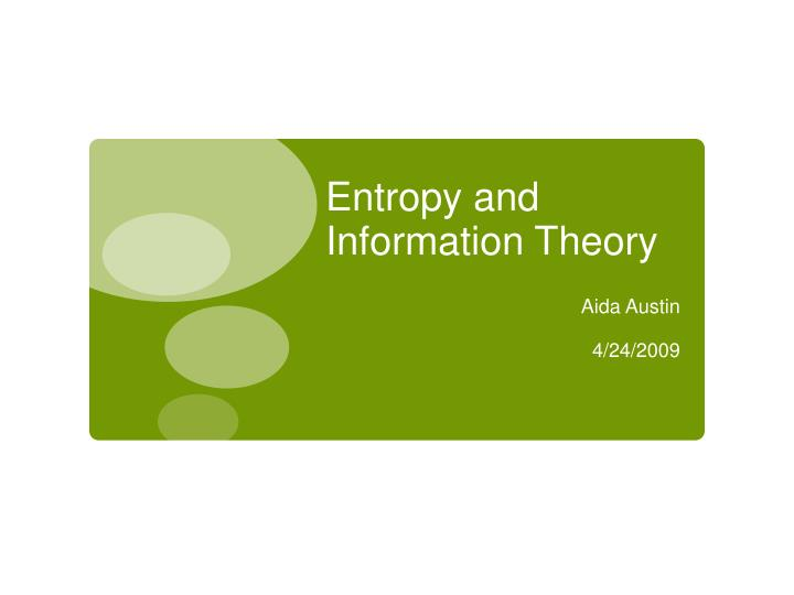 entropy and information theory n.