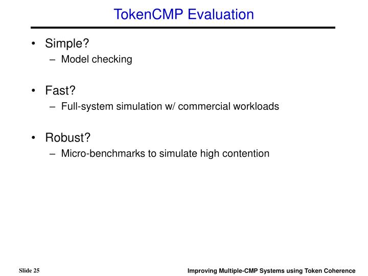 TokenCMP Evaluation
