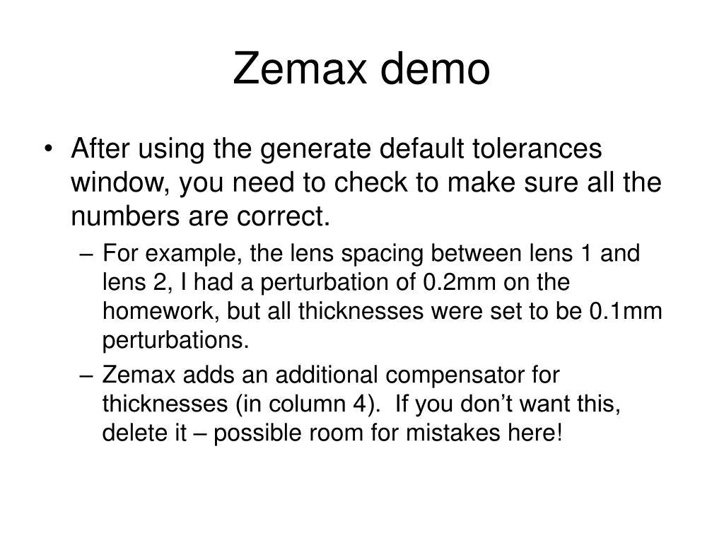 PPT - Tolerancing in Zemax PowerPoint Presentation - ID:3033206