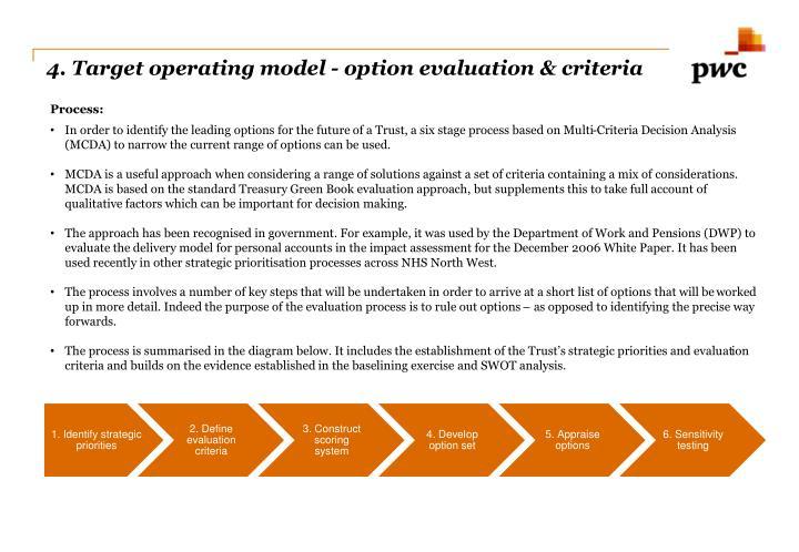 4. Target operating model - option evaluation & criteria