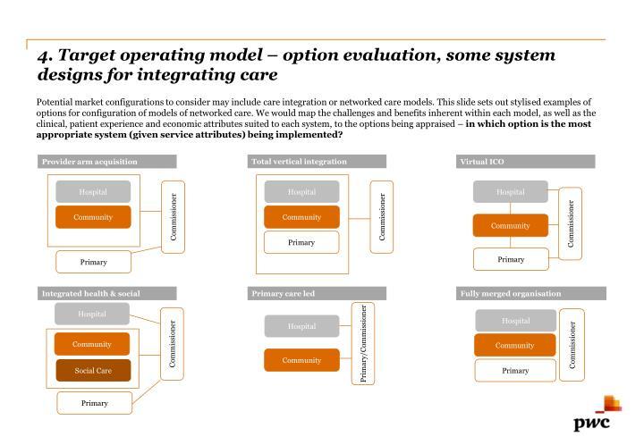 4. Target operating model – option evaluation, some system designs for integrating care