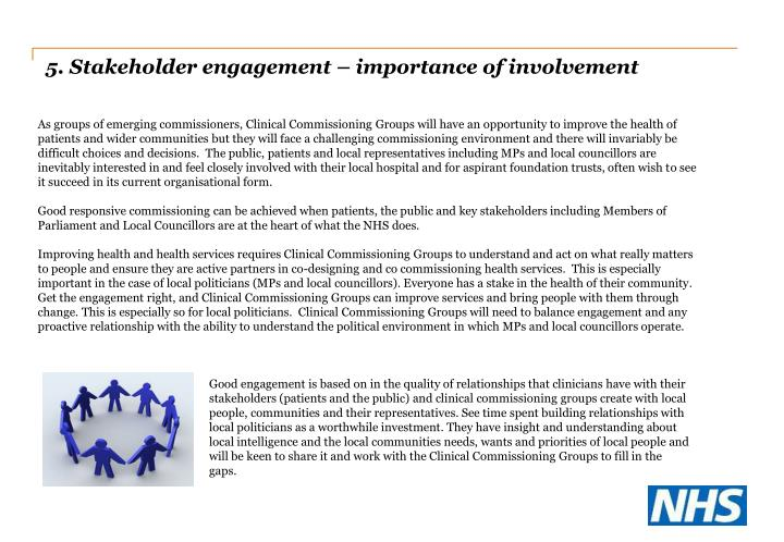 5. Stakeholder engagement – importance of involvement