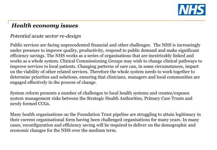 Health economy issues