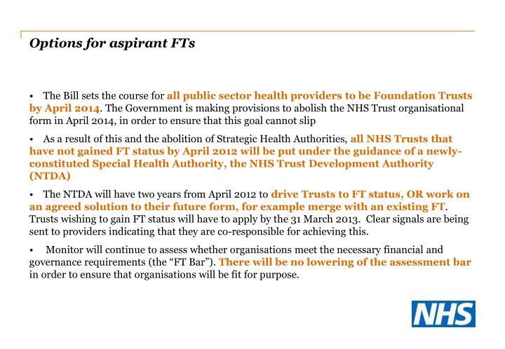 Options for aspirant FTs