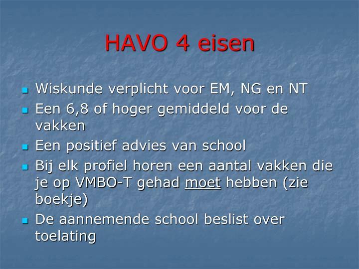 HAVO 4 eisen