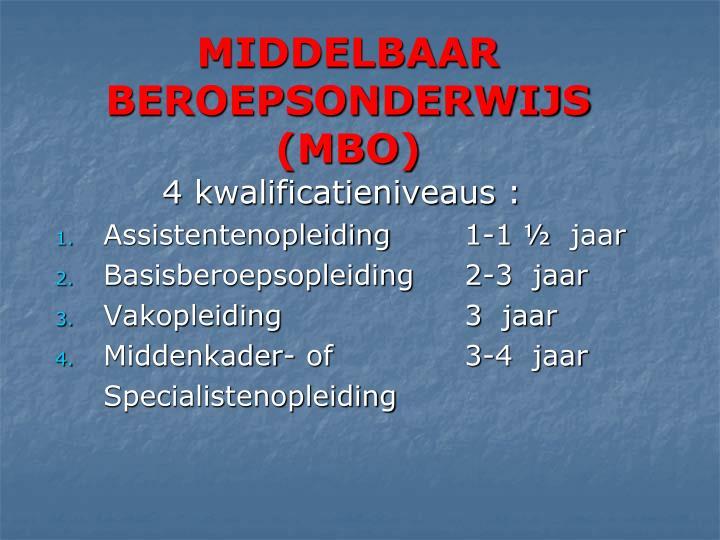 MIDDELBAAR BEROEPSONDERWIJS (MBO)