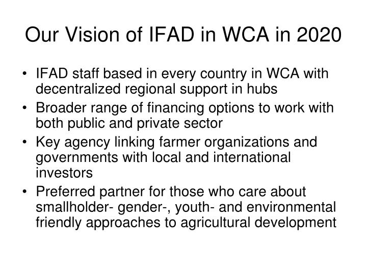 Our Vision of IFAD in WCA in 2020