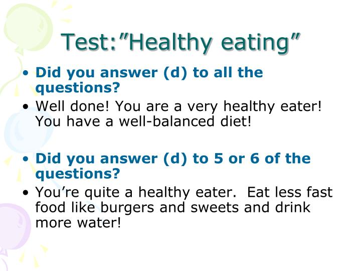 """Test:""""Healthy eating"""""""