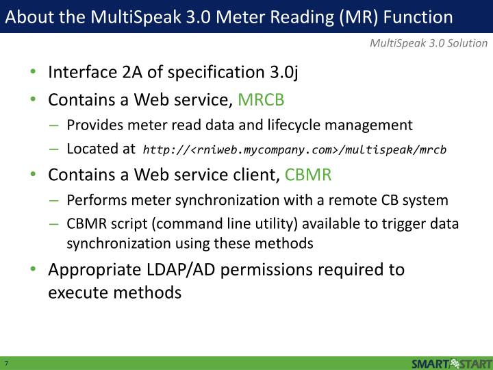 About the MultiSpeak 3.0 Meter Reading (MR) Function