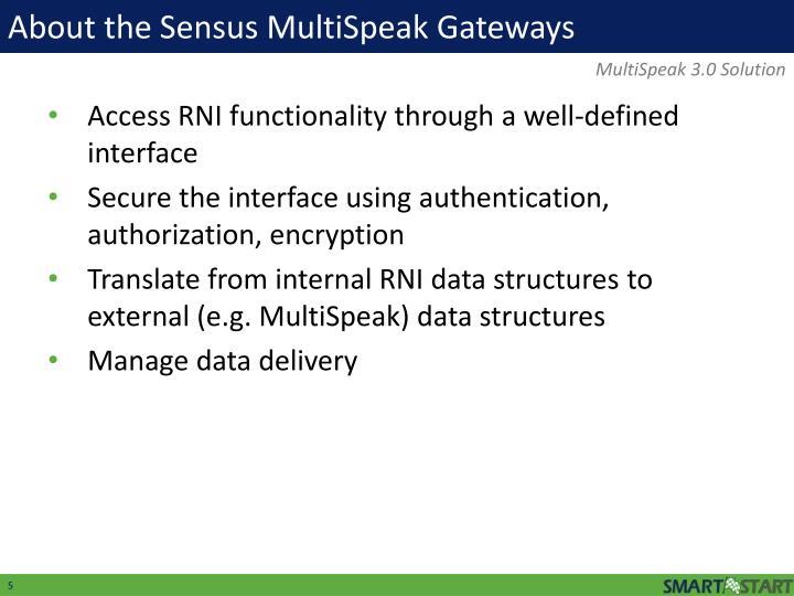 About the Sensus MultiSpeak Gateways