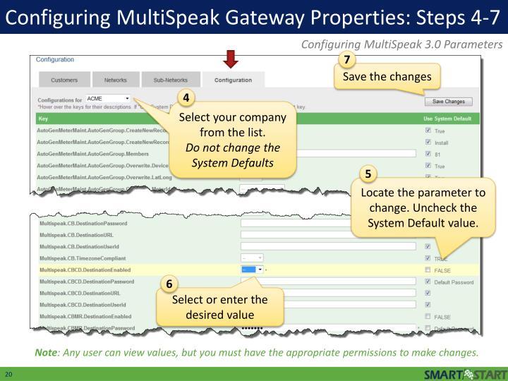Configuring MultiSpeak Gateway Properties: Steps 4-7