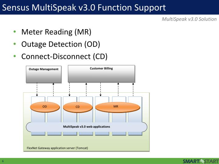 Sensus MultiSpeak v3.0 Function Support