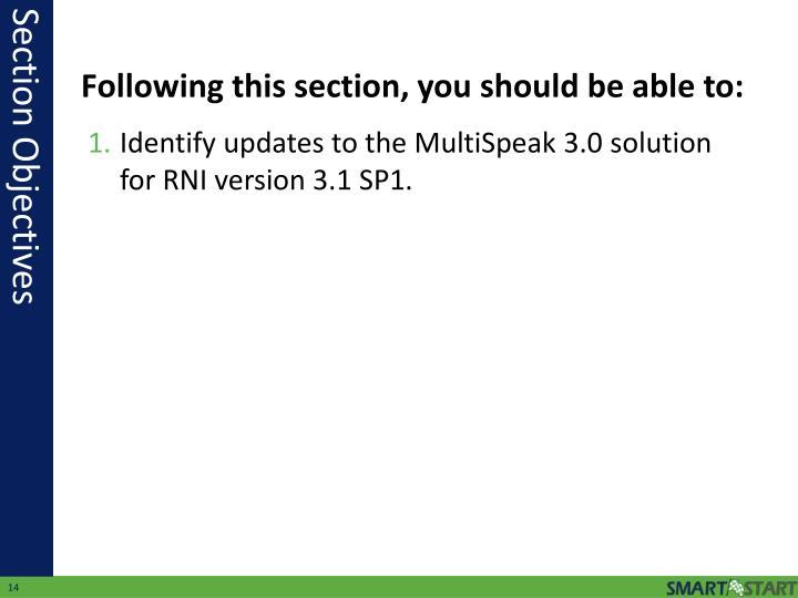 Identify updates to the MultiSpeak 3.0 solution for RNI version 3.1 SP1.