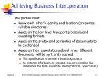 achieving business interoperation