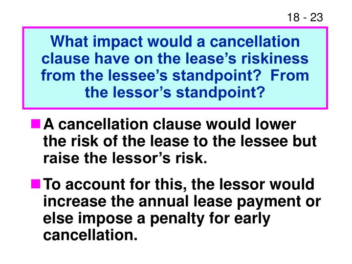 What impact would a cancellation clause have on the lease's riskiness from the lessee's standpoint?  From the lessor's standpoint?