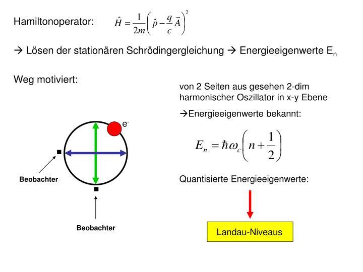 von 2 Seiten aus gesehen 2-dim harmonischer Oszillator in x-y Ebene