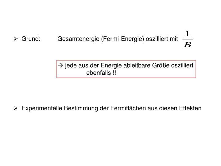 Grund:Gesamtenergie (Fermi-Energie) oszilliert mit