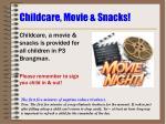 childcare movie snacks