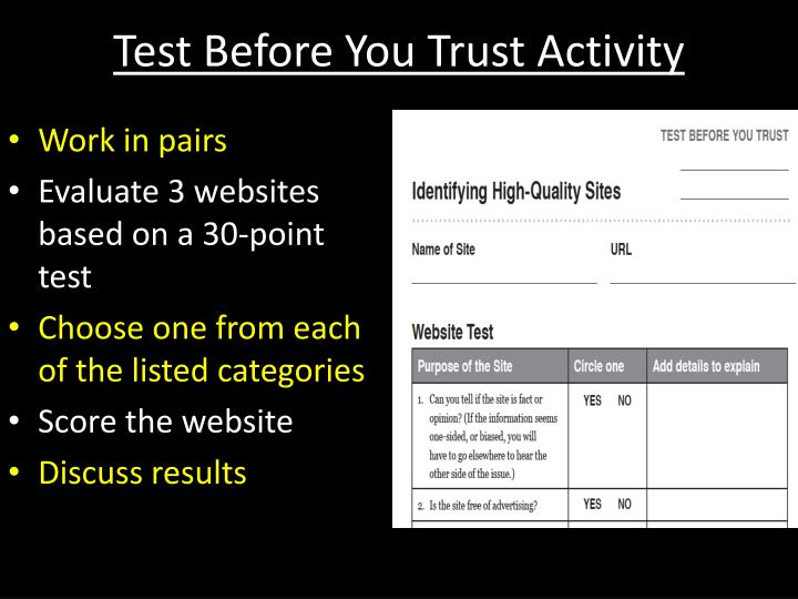Test Before You Trust Activity