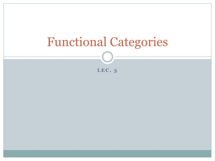 functional categories n.