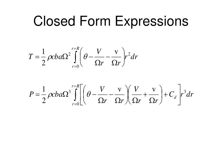 Closed Form Expressions