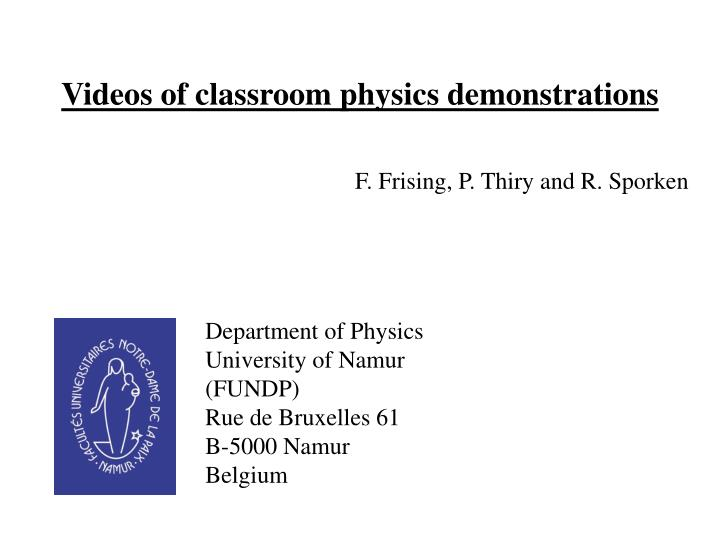 videos of classroom physics demonstrations n.