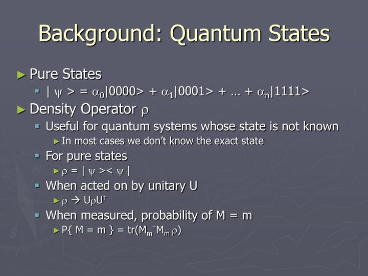 Background: Quantum States