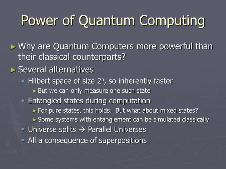Power of Quantum Computing