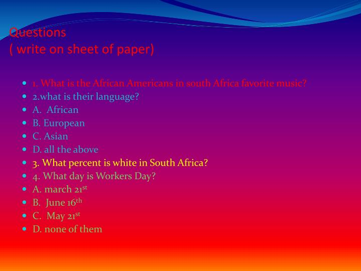 questions write on sheet of paper n.