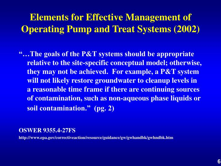 Elements for Effective Management of Operating Pump and Treat Systems (2002)