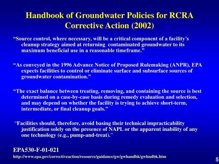 Handbook of Groundwater Policies for RCRA Corrective Action (2002)