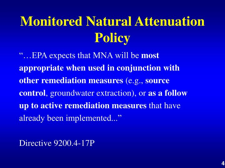 Monitored Natural Attenuation Policy