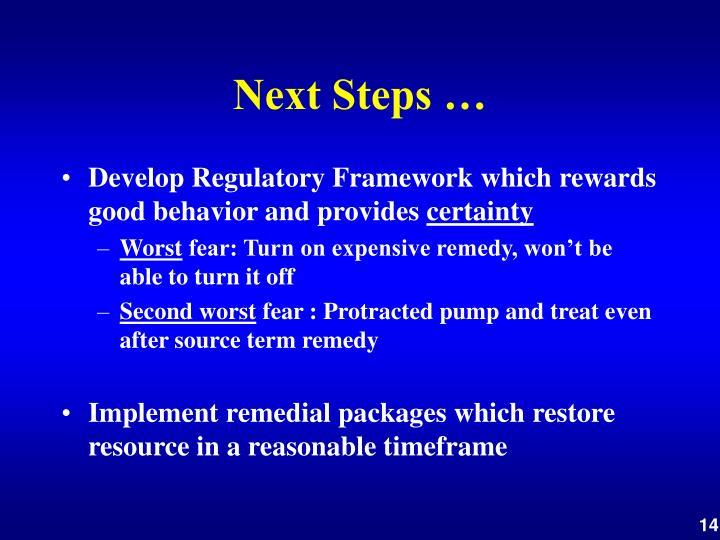 Next Steps …