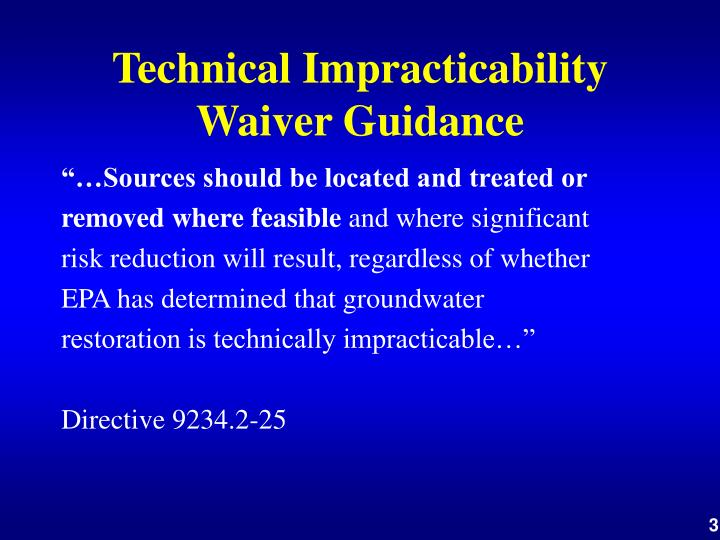 Technical impracticability waiver guidance