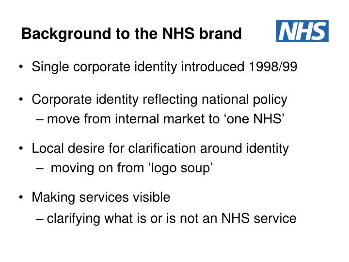 Background to the nhs brand