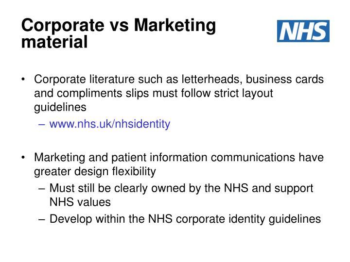 Corporate vs Marketing