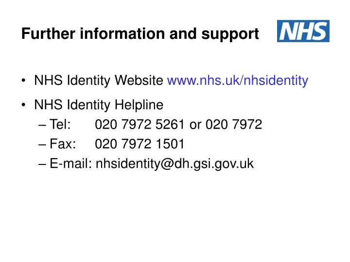 Further information and support