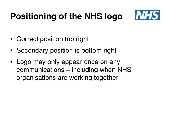 Positioning of the NHS logo