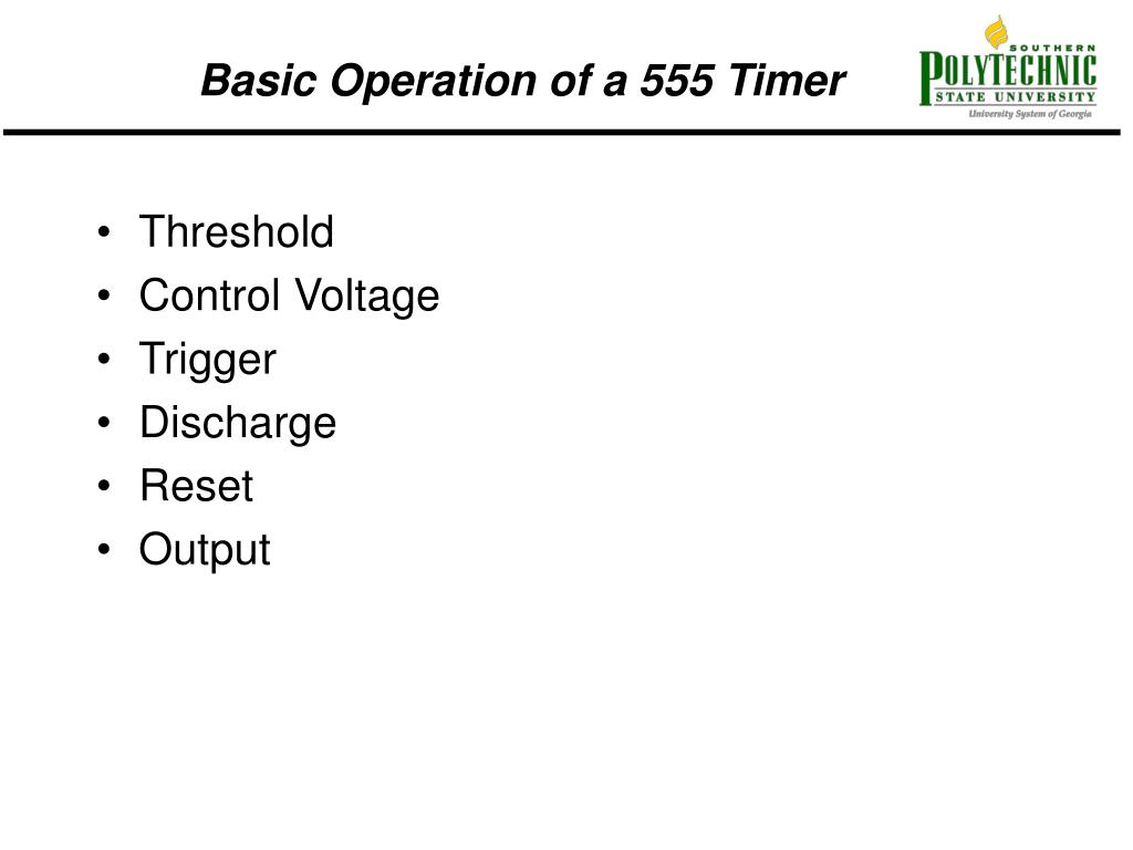 Ppt Basic Operation Of A 555 Timer Powerpoint Presentation Id Monostable One Shot Trigger Electrical Engineering N