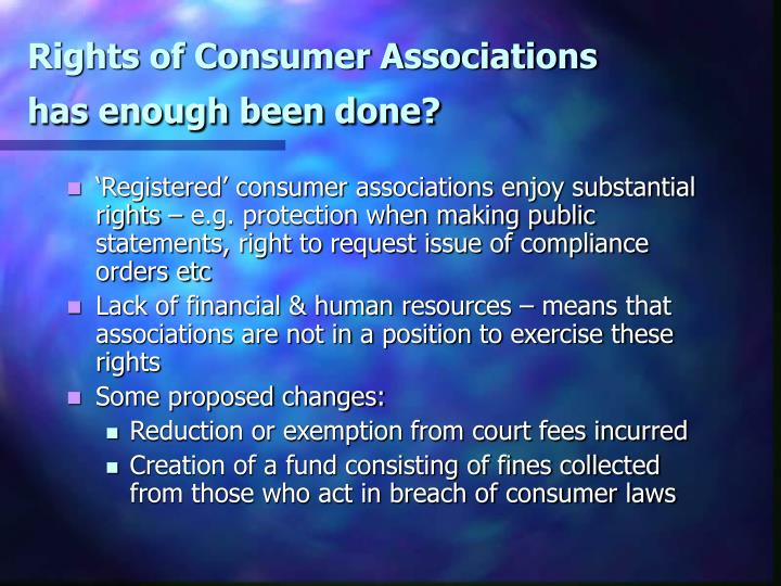 Rights of Consumer Associations